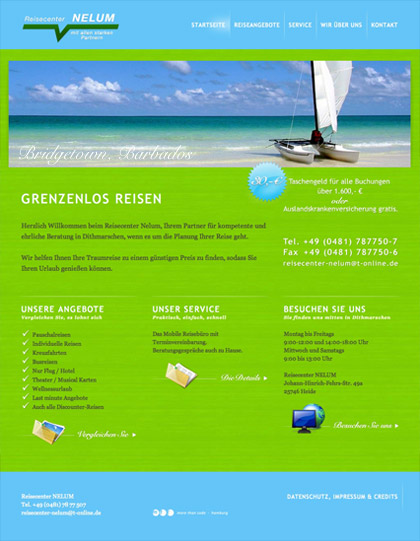 webdesign berlin reisecenter nelum heide start